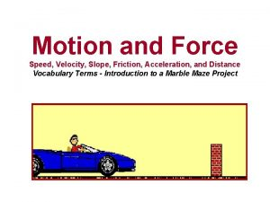 Motion and Force Speed Velocity Slope Friction Acceleration