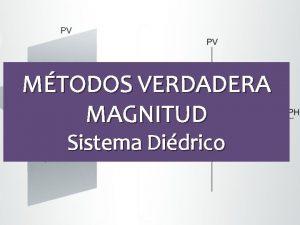 MTODOS VERDADERA MAGNITUD Sistema Didrico VERDADERA MAGNITUD Mtodos