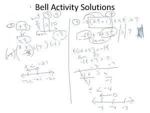 Bell Activity Solutions Bell Activity Solutions Compound Inequality