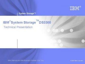 System Storage TM TM IBM System Storage DS