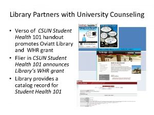 Library Partners with University Counseling Verso of CSUN