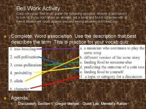 Bell Work Activity Copy onto your Bell work