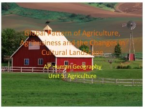 Global Pattern of Agriculture Agribusiness and the Changes