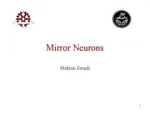 Mirror Neurons Mehran Emadi 1 Mirror Neurons Giacomo
