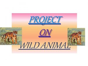 PROJECT ON WILD ANIMAL Wild animals of India