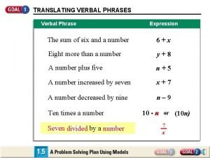 TRANSLATING VERBAL PHRASES Verbal Phrase Expression The sum