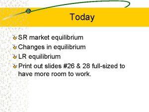 Today SR market equilibrium Changes in equilibrium LR