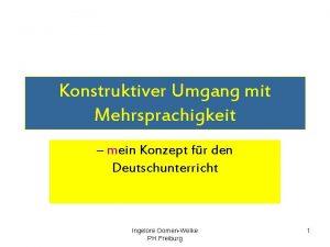Konstruktiver Umgang mit Mehrsprachigkeit mein Konzept fr den