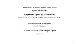 Symphonieorchester des Bayerischen Rundfunks Education 20162017 Pjotr I