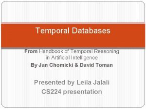 Temporal Databases From Handbook of Temporal Reasoning in