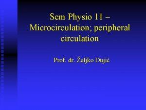 Sem Physio 11 Microcirculation peripheral circulation Prof dr