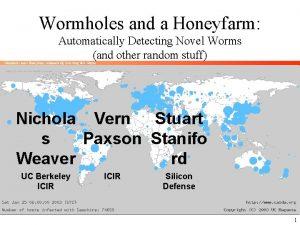 Wormholes and a Honeyfarm Automatically Detecting Novel Worms