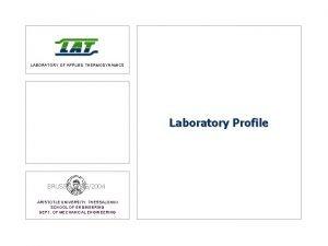 LABORATORY OF APPLIED THERMODYNAMICS Laboratory Profile BRUSSELS 552004