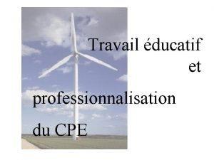 Travail ducatif et professionnalisation du CPE Le travail