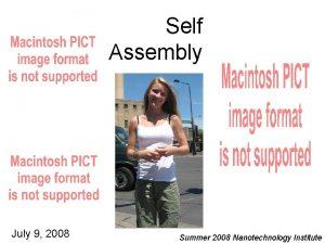 Self Assembly July 9 2008 Summer 2008 Nanotechnology