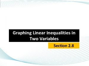 Graphing Linear Inequalities in Two Variables Section 2