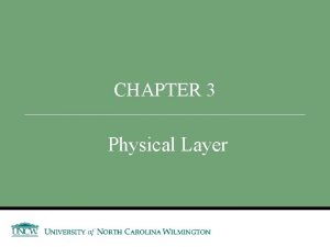 CHAPTER 3 Physical Layer Announcements and Outline Announcements