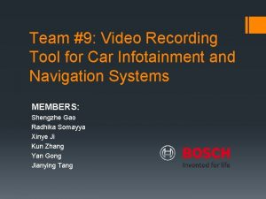 Team 9 Video Recording Tool for Car Infotainment