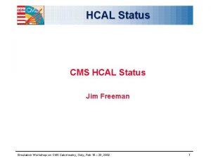 HCAL Status CMS HCAL Status Jim Freeman Simulation