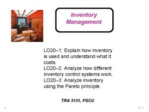 Inventory Management LO 20 1 Explain how inventory