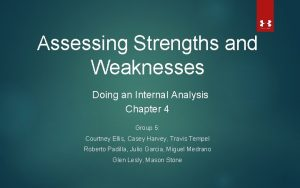 Assessing Strengths and Weaknesses Doing an Internal Analysis