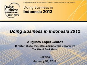 Doing Business in Indonesia 2012 Doing Business in