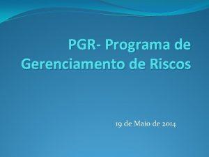 PGR Programa de Gerenciamento de Riscos 19 de