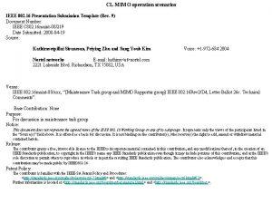 CL MIMO operation scenarios IEEE 802 16 Presentation