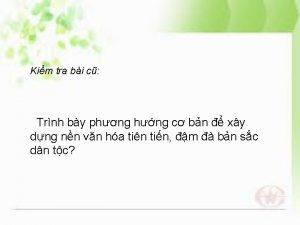 Kim tra bi c Trnh by phng hng