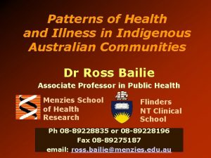 Patterns of Health and Illness in Indigenous Australian