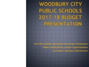 WOODBURY CITY PUBLIC SCHOOLS 2017 18 BUDGET PRESENTATION