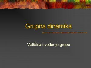 Grupna dinamika Veliina i voenje grupe 1 Veliina