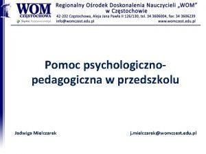 Pomoc psychologiczno pedagogiczna w przedszkolu Jadwiga Mielczarek j