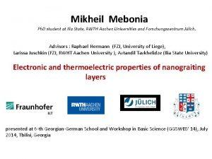 Mikheil Mebonia Ph D student at Ilia State