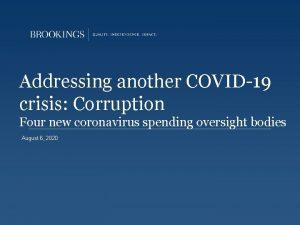 Addressing another COVID19 crisis Corruption Four new coronavirus