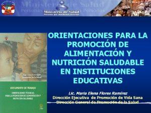 ORIENTACIONES PARA LA PROMOCIN DE ALIMENTACIN Y NUTRICIN