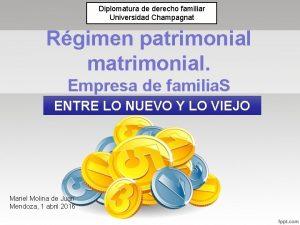 Diplomatura de derecho familiar Universidad Champagnat Rgimen patrimonial
