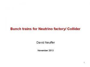Bunch trains for Neutrino factory Collider David Neuffer