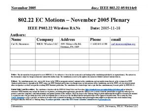 November 2005 doc IEEE 802 22 050114 r