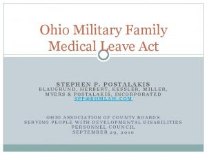 Ohio Military Family Medical Leave Act STEPHEN P