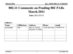 March 2011 doc IEEE 802 11 110433 r