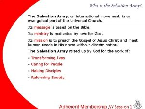 Who is the Salvation Army The Salvation Army