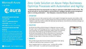 Microsoft Azure CASE STUDY ZeroCode Solution on Azure