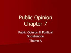 Public Opinion Chapter 7 Public Opinion Political Socialization