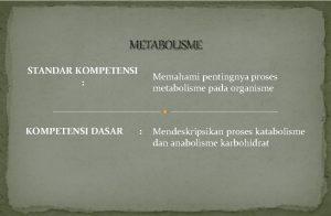 METABOLISME STANDAR KOMPETENSI KOMPETENSI DASAR Memahami pentingnya proses