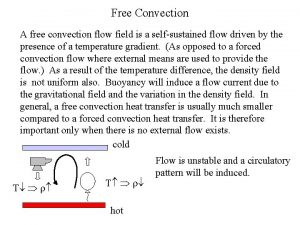 Free Convection A free convection flow field is
