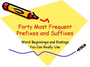 Forty Most Frequent Prefixes and Suffixes Word Beginnings