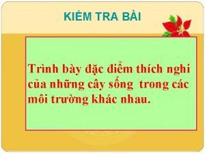 KIM TRA BI Trnh by c im thch