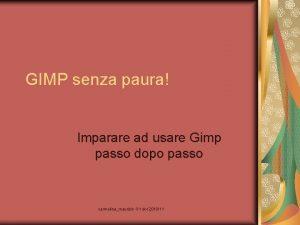 GIMP senza paura Imparare ad usare Gimp passo