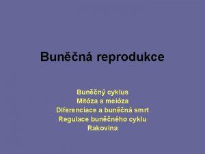 Bunn reprodukce Bunn cyklus Mitza a meiza Diferenciace